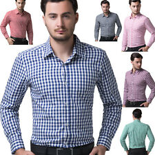 CHEAP Top Design Men Slim Long Sleeve Small Grid Shirt Tops Casual/Dress Shirts
