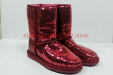 Ugg Australia Classic Short Sparkles Boots Red Sangria Sequin New 1003598