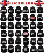 Mens Women's Beanie Hat Winter Bad Hair Day Parental Advisory Wasted Homies YOLO