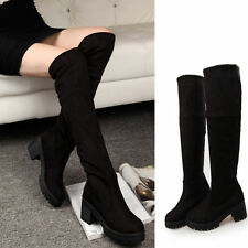 Lady women Platform Pump Thigh High Riding Motorcycle Over The Knee Boots Shoes
