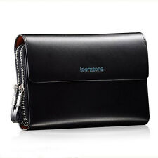 branded new men real leather double zipper day clutch wallet oragnizer briefcase