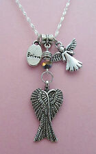 Folded Angel Wings and Little Angel Charm Necklace  FREE FAST SHIPPING!