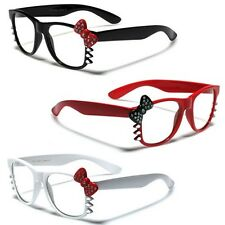 Hello Kitty Bow Rhinestone Women's Clear Lens Rx Sunglasses Nerd Party Glasses