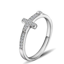Pure 925 Sterling Silver CZ Sideways Cross Ring - Cross Religious Faith Jewelry