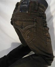 Mens ROCK REVIVAL JEANS Straight Leg Brown Wash Brown Black Stitch Flap Pocket