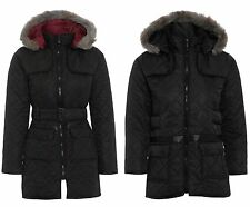 NEW GIRLS SCHHOL COAT BLACK KIDS FUR HOODED MILITARY BELTED JACKET SIZE AGE 2-13
