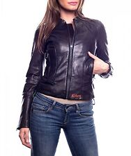 New 100% Guaranteed Soft Lambskin Motorcycle Leather Jacket For Women EHS W- 68