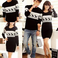 Womens Mens Lovers Clothes Xmas Reindeer Knitting Sweater Jumper Dress Coats Sz