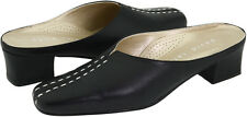 Women's David Tate Melody Mule Slip-On Slides Black Leather Extra-Wide