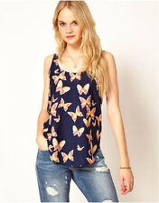 Lovely Butterfly Print Tank Top Vest Glamorous Chiffon Sleeveless Blouse T-Shirt