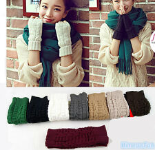 Fashion Women Men Wool Knitted Fingerless Winter Gloves Unisex Soft Warm Mitten