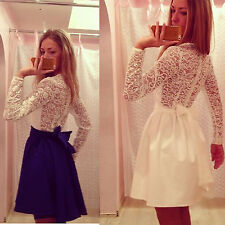 Women Lace Dress Long Sleeve back Bowknot Prom Ball Party swing Skater Dress