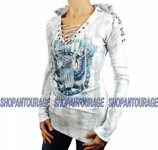 Affliction Tough Love AW10767 Women`s New Long Sleeve Hooded White Thermal