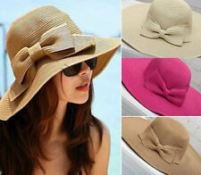 Women Girls  Folding Sun Hat Summer Beach Cap Wide Brim Bowknot Floppy Straw Hat