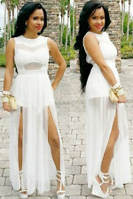 Sexy White Mesh  Bodice Jumpsuit with Doube Slits Gown Evening Party Long Dress