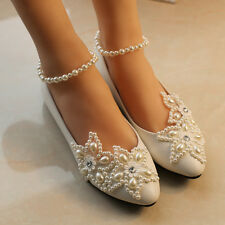White pearl Wedding flat ballet lace flower Bridal shoes Bridesmaid size 6.5