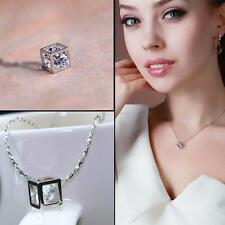 Wholesale 925 Sterling Silver Crystal Love Magic Cube Pendant Charm Necklace D15