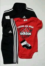New ADIDAS 4 Piece Boys Set Sz 6M, 9M Black Red WhiteTrack Suit kids/baby