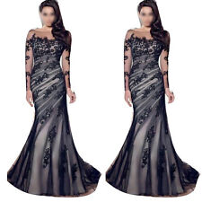 Luxury Womens applique Evening Prom Ball Gown Formal Party Cocktail Long Dress