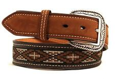 Ariat Western Mens Belt Leather Ribbon Inlay Brown A1016402
