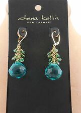 Dana Kellin Goldtone Aquamarine Or Champagne Crystal Bead Dangle Earrings NWT