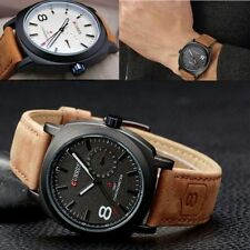 New Style Leisure Men's Leather Strap Quartz Military Luminous Waterproof Watch