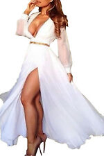 Women Pure White Layered Sheer Ruffling Maxi party cocktail dress for evening