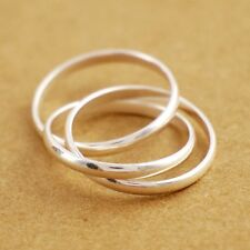 Sterling Silver 3x1.8mm Bands Multi Layers Plain Simple Knuckle Midi Ring A3225