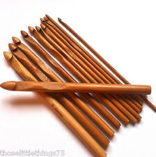 Crochet hooks bamboo needles 3 - 10mm 12pcs set, yarn knitting hook wood