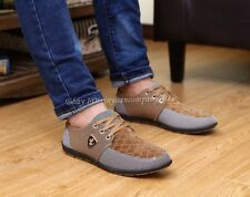 Men's animal Breathable Casual Grid Flats sneakers Loafer Lace up Shoes NN194