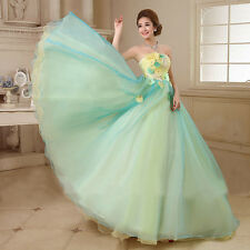 Strapless Hand-made Flowers Costumes Bridal Gown Floor Length Wedding Dresses