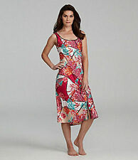 NWT-$68 N by NATORI NIGHTGOWN 'INDOCHINE' S/M/L SATIN CHARMEUSE EXOTIC FLORAL