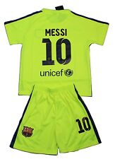 Barcelona 2014-2015 Kids Neon Yellow #10 Messi Jersey and Shorts Youth Sizes