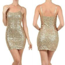 Dress S M L Gold Sequin Basic Mini Sparkling Cocktail Holiday Party Womens New