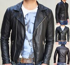 MENS BLACK BRANDO BIKER PADDED LEATHER JACKET VINTAGE RETRO CLUB PARTY ALL SIZE