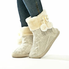 Ladies Slippers Womens Slipper Boots Faux Fur Lined with Pom Poms