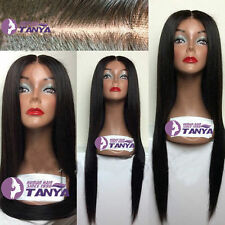SOFT Silk Straight 100% Brazilian Human Remy Hair Lace Front WIGS Tangle Free