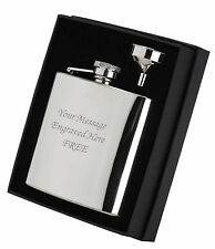 Personalised Engraved 6oz Hip Flask/Funnel Boxed Gift Set Wedding Birthdays