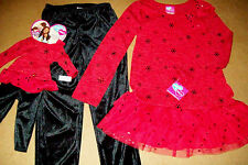 WHAT A DOLL 2PC RED& BLACK LEGGINGS OUTFIT & matching set for AMERICAN GIRL DOLL
