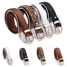 Fashion Ladies Women's Faux Leather Metal Buckle Waist Belt Waistband Band Decor
