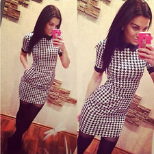 New Women Dress Slim Short Sleeved Plaid Print Bodycon Casual Dresses GUT