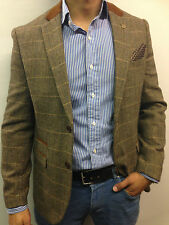 Mens Designer Tweed look Herringbone Vintage Coat Jacket Checked  Blazer
