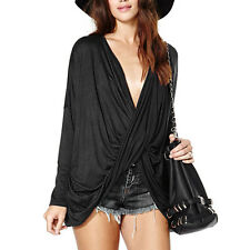 1PC Women Front Cross V-Neck Long Sleeve Shirts Sexy Black Tops Blouses Cheap
