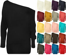 New Womens Ladies One Off Shoulder Batwing Long Sleeve Plain Shirt Top Plus Size