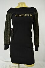BEBE dress bodycon BLACK gold  sweater 244402 off the shoulder