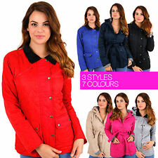 Womens QUILTED JACKET Hooded Padded Belted Button Autumn Coat Cosy Cheap Ladies