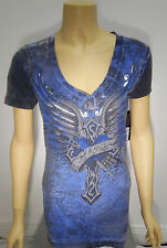 Womens Sinful Affliction V Neck Shirt Cross Wings Blue Wash S M L XL S3188 NWT