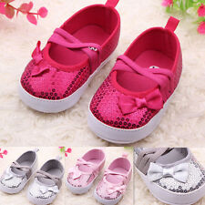 Kids Baby Bowknot Bling Sequins Soft Sole Bottom Infant Toddler Shoes 0-12M