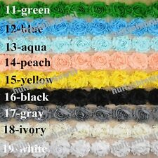 10yards Floral shabby chiffon rose millinery sewing flower appliques lace trims