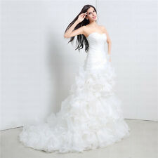 2015 100% Real Picture Sheath Wedding Dress Sweetheart Ruffle Charming US Stock